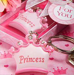 Детские подарочные коробки для душа онлайн-20pcs baby girl Princess Imperial crown key chain key ring keychain ribbon gift box baby shower favor souvenir wedding gift