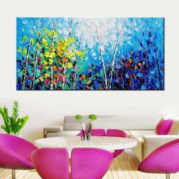 Quarto pop art on-line-Pintados À mão Parede Pop Art Abstrato Azul Paleta Faca Floresta Paisagem Retrato Da Parede Sala de estar Quarto Home Decor Art