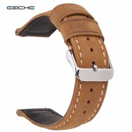 Wholesale Quick Watch - Wholesale-EACHE 20mm 22mm Genuine Leather Watch band Light brown dark brown Matte Retro leather Watch Strap with Quick Release Spring bar