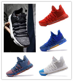 Wholesale kd basketball shoes blue - 2018 HOT Zoom KD 10 Men Basketball Shoes designer shoes Anniversary PE vapormax KD X Elite Low Kevin Durant Athletic Sneakers luxury shoes