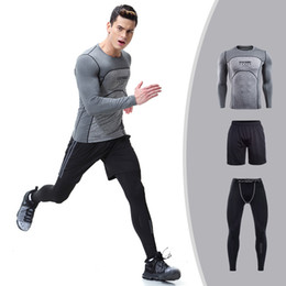 Wholesale mens long running shirt - Mens Compression Shirt Set Bodybuilding Clothing Tight Long Sleeves Shirts Leggings Shorts Suits Mma Crossfit Workout Fitness Sportswear