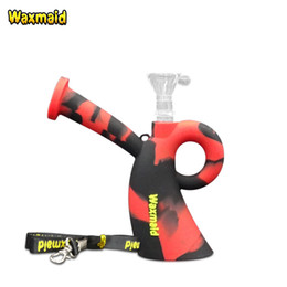 Wholesale Cheap Glass Pipes Free Shipping - Dab Rig Waxmaid Miss Unbreakable Silicone Cheap Water Pipe Bong With Lanyard Bong Accessories Glass Bowl For Wax Oil Free Shipping