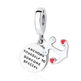 San Valentino Autentico 925 Sterling Silver Bead smalto rosso Anchor Hanging Charm Fit bracciali Pandora originali gioielli fai da te Charms da