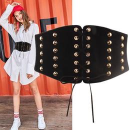 hohe kleider Rabatt Neues Cummerbunds Metallzusätze, die alte Weisen der hohen Taille des Taillenkleides super breite schwarze Taillenbindung wieder herstellen, binden Frau