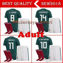1c033ec8020 2017 Mexico national team Adult Mexico Kits Soccer Jerseys Uniform Home  Green Men Set 2018 World Cup G.Dos Santos CHICHARITO football shirts team  soccer ...