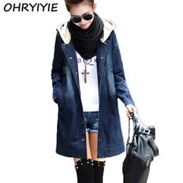 7aa103504cc OHRYIYIE New Long Fashion Hooded Denim Jacket Women 2018 Spring Autumn Plus  Size Denim Coat Jackets Femme Jean Outerwear M-XXXL