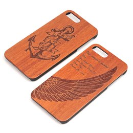 Wholesale Hard Wood Protector - For iPhone X Wooden Case Hard Cover Carving Wooden Phone Covers Bamboo Wood+PC Cases For iPhone 7 8P Luxury Retro Protector Cover