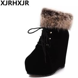 Wholesale Korea Winter Shoes - XJRHXJR Korea Wedges High Heels Shoes Woman Fashion Height Increasing Ankle Boots Cross Tie Fashion Platform Snow Boots Fur