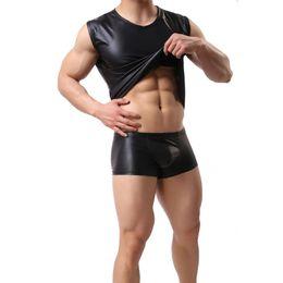 Schwarzer körperanzug online-Herren schwarz Kunstleder sexy Body Suit Sport Tank Top ärmellose Weste engen Hemd (nicht einschließlich Shorts)