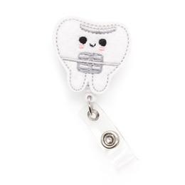 DIY sentiu dentes bonitos nome Medical Symbol yoyo badge carretel cartão de identificação retrátil porta-crachá Reel ID Badge para presentes da enfermeira de Fornecedores de atacado chaveiros coreia