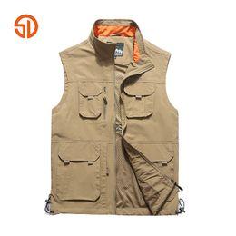 Giacca senza maniche con tasca multipla online-Large Size 5XL 6XL Tactical Jacket Vest Uomo Gilet Multi Pocket Giacca senza maniche Traspirante Outwear Fotografo Reporter