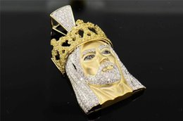 Wholesale White Gold Head Crowns - 10K Yellow Gold Diamond Jesus Piece Head Crown King Hat Cross Pendant 3.75 Ct.