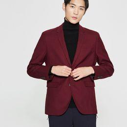 7c2878415bdfc Yeni Varış Rahat Takım Elbise Ceket Siyah / Şarap Kırmızı Blazer Masculino  Slim Fit Klasik Erkekler Coat Katı Renk Resmi Erkek Takım Elbise Ceket
