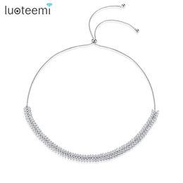 Wholesale Cubic Zirconia Tennis Necklaces - LUOTEEMI Silver Tone Adjustable Slide Marquise Cut Clear Cubic Zirconia Leaf Tennis Choker Necklaces For Women Wedding Chokers