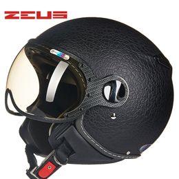 Wholesale Bike Helmets For Women - Retro Genuine ZEUS Motorcycle Helmets Vintage DOT Approve Men Women Fashion Bike Scooter Four Seasons Helmet 210c For Harley