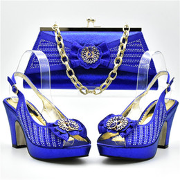 Wholesale Women Beach Shoes Design - Royal blue Red Rhinestone African shoe and bag set for party Italian shoe with matching bag new design ladies matching shoe and bag