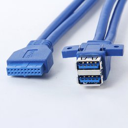 Wholesale Motherboards For Hp - Wholesale- usb 3.0 20 pin female to 2 usb a female Motherboard Mount cable Adapter Connector 1m with screw hole fixed for Asus Msi Onda HP