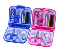 mini sewing machine set UK - Blue & Pink Mini Portable Travel Sewing Kit Thread Needles Plastic Case Scissors Tape Pins Thread Threader Set Sewing Tools Set