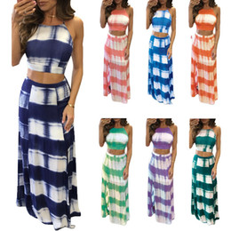 Wholesale long maxi bandage dress - Tie Dye Stripe Printed High Neck 2pcs Bandage Long Dress Split Dress Striped Maxi Dress LJJO4308