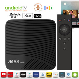 Wholesale quad band dual - Voice control Android Box Amlogic S912 64Bit 3GB 16GB dual band 2.5G 5G WiFi BT4.0 4K OTA update Android 7.1 Streaming Box Mecool M8S PRO L