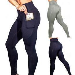 Wholesale workout pants for women - Slim Jeggings Push Up Sport Yoga Leggings Running Tights Side Pocket sport Trousers For Women Fitness Yoga Legging Workout