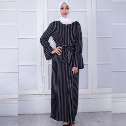 4785dd9b3d 2018 New Middle Eastern Muslim Dress Striped Black White Trumpet Sleeve Long  Dress with Bandages Fashion Hijab Abaya Slimming Clothing