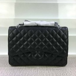 Wholesale maxi single - Fab Price XLarge Classial 33CM Maxi Black Genuine Caviar Leather Quilted Double Flap Fashion Shoulder Chain Bags Handbags G S Hardware 58601