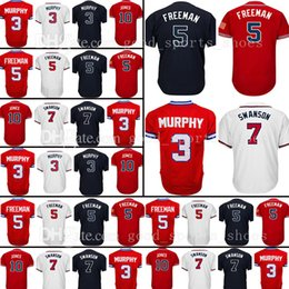 Wholesale Atlanta Baseball Jersey - Atlanta 44 Hank Aaron 10 Chipper Jones Jersey 5 Freddie Freeman 3 Dale Murphy Baseball Jerseys
