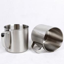 Tazas de acero inoxidable para niños. online-250 ml de acero inoxidable taza de té taza de café taza de viaje de viaje diámetro 7 cm cerveza leche expreso aislado Shatterproof niños taza de leche HH7-381