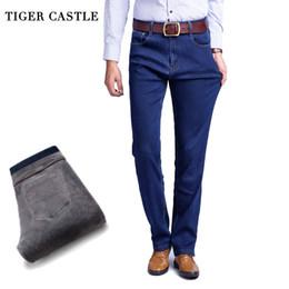 Wholesale Thick Fleece Pants Men 3xl - TIGER CASTLE Thick Men Winter Stretch Jeans Warm Fleece Men's Classice Jeans Quality Male Black Denim Jean Pants Size 28-42