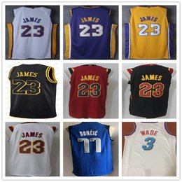 Wholesale l shorts - 23 LeBron James 11 Kyrie Irving 30 Stephen Curry 77 Luka Doncic 3 D wyane 21 Hassan Whiteside Men's Basketball Jerseys S-XXL
