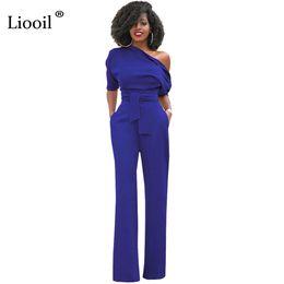 Wholesale Women Sexy Jumpsuits Wide Leg - Liooil One-Shoulder Sexy Jumspuit Half Sleeve Irregular Collar Sashes Buttons Wide Leg Jumpsuits Blue Women Rompers Overalls