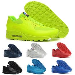 Bandera americana zapatillas deportivas online-HY PRM QS 90 Hombres Mujeres Zapatillas para correr 90s HyperS fusibles Bandera americana Negro Blanco Azul marino Oro Plata Deportivos deportivos