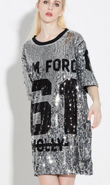 Wholesale Korean Sexy Shorts - 2016 Sexy Korean Style New Sequins Summer Fashion Casual Loose Short-sleeved T-shirt Long Design T Shirt Women Hip Hop T Shirt