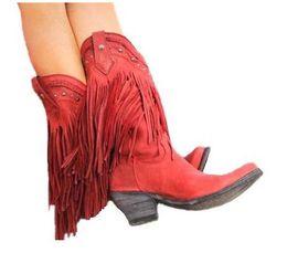 Botas de salto alto com franjas on-line-Botas de motocicleta Franjas Botas de Cowboy Sapatos Primavera Outono Mulheres Botas de Tassel Estilo Boemia Gladiador Mulheres Mid-calf Low Heel
