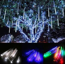 Wholesale Rain Drop Led Lights - LED 30cm Falling Rain Drop Icicle Snow Fall String Snow Fall Xmas Fairy Light Xmas Tree Light Decor OOA3958