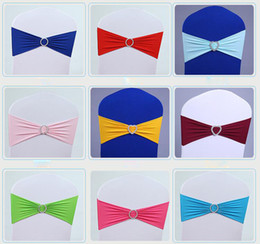 Wholesale wedding sash buckles - Wedding Chair Cover Sashes Elastic Spandex Chair Band Bow With Buckle for Weddings Event Party Accessories