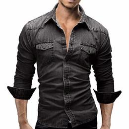 2019 vestido de cor denim Homens Camisa Marca Masculino Camisas de Manga Longa Casual Cor Sólida Denim Slim Fit Camisas de Vestido Dos Homens 3xl desconto vestido de cor denim