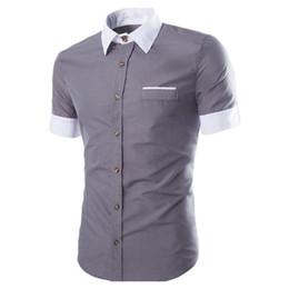 Wholesale Korean Boys Dressing - Boy Gray Short Sleeve Shirt Tide Boy Brief Blusa Casual Streetwear 2018 Summer Thin Tops Male Office Work Shirts Korean Slim 2XL