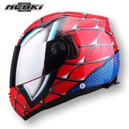 Wholesale Child Motorcycle Helmet - NENKI brand Spiderman Protective Gears child star Mary IronMan capacete casco moto full face helmets dual lens motorcycle helmet