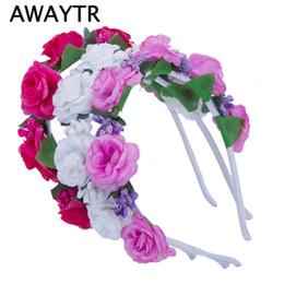 Wholesale tiaras for head - AWAYTR Girls Hair Accessories Flower Hairband Bridal Wedding Girls Headwear Boho Wreath for Kids 2017 New Head Tiara Garland