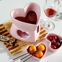 Wholesale Ice Cream Hearts - Free Shipping 250cc Heart Shape Pink Fondue Set Ice Cream Pot Chocolate Fondue Ceramic Cheese Hot Pot with Fork and Candle
