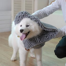toalhas de microfibra pet Desconto Chenille Pet Pet Cat Microfibra Toalha De Banho Com Bolsos de Mão Absorvente Bathrobe Dog Dry Hair Para Cães Secagem Rápida 2 Tamanhos