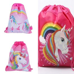 34 27 cm Unicorn Drawstring Backpack Girls Princess Kids Theme Party  Backpack Candy Bags School backpack D0034 6a1475cc62d33