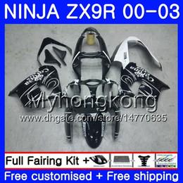 Gehäuse für KAWASAKI NINJA ZX 9R 9 R ZX 900 ZX9R 00 01 02 03 216HM.0 ZX900 900CC ZX9 R ZX-9R 2000 2001 2003 Verkleidungsset Schwarz CORONA Weiß von Fabrikanten