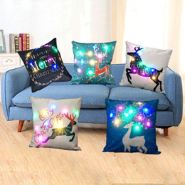 Wholesale led lighted reindeer - Led Light Luminous Pillow Case Christmas XMAS Reindeer Pillow Case Flashing Pillow Cover Sofa Car Decoration 45*45cm HPC27