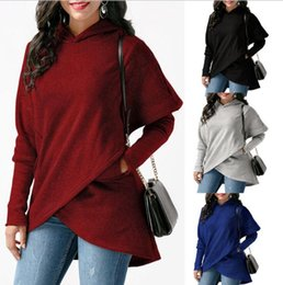 Wholesale Womens Long Hoodie Coats - Womens Hoodies Irregular Sweater Long Sleeve Sweater Pocket Hoodies Sweatshirt Casual Coat Autumn Blouses Sweatshirts KKA4084