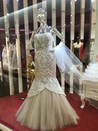 Discount sexy wedding dress tube - Plus Size Luxury Tube Top Crystal Fishtail Beaded Wedding Dress pearl Off-Shoulder Elegant Ruffle Lace Sweep Train Sexy Mermaid Bridal Gowns
