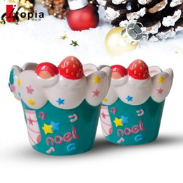 Wholesale Cupping Points - Color Painted cupcakes Cute Ice Cream Christmas Cup Creative Ceramic Mug Mousse Dessert West Point Cake Cup Free Shipping