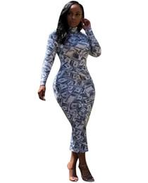 Argentina 2018 Nuevo vestido atractivo de las mujeres de la envoltura de manga larga de cuello alto Nos Dollar fiesta impresa vestidos ajustados Suministro